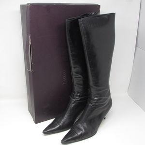 Jimmy Choo Vassey Black Leather Knee High Boots